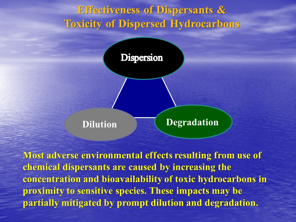 Dilution Degradation Most adverse environmental effects resulting from use of chemical dispersants are caused by increasing the concentration and bioavailability of toxic hydrocarbons in proximity to sensitive species.