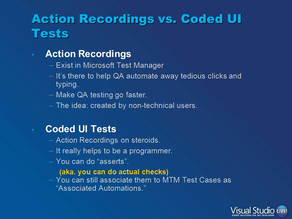 Action Recordings vs.