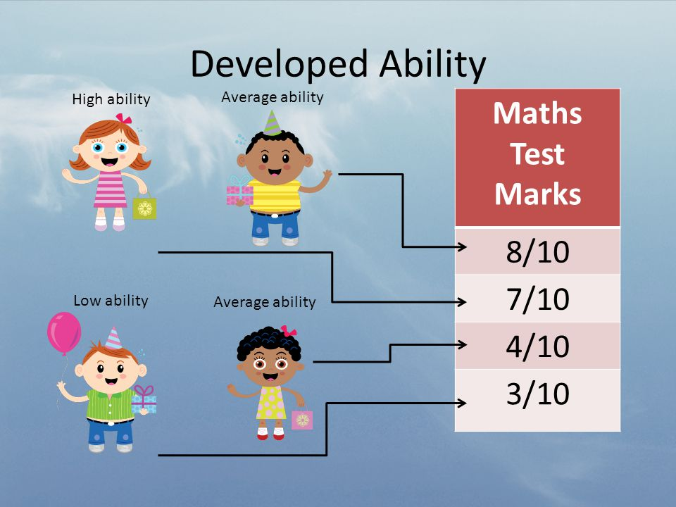 Developed Ability Maths Test Marks 8/10 7/10 4/10 3/10 Average ability Low ability Average ability High ability