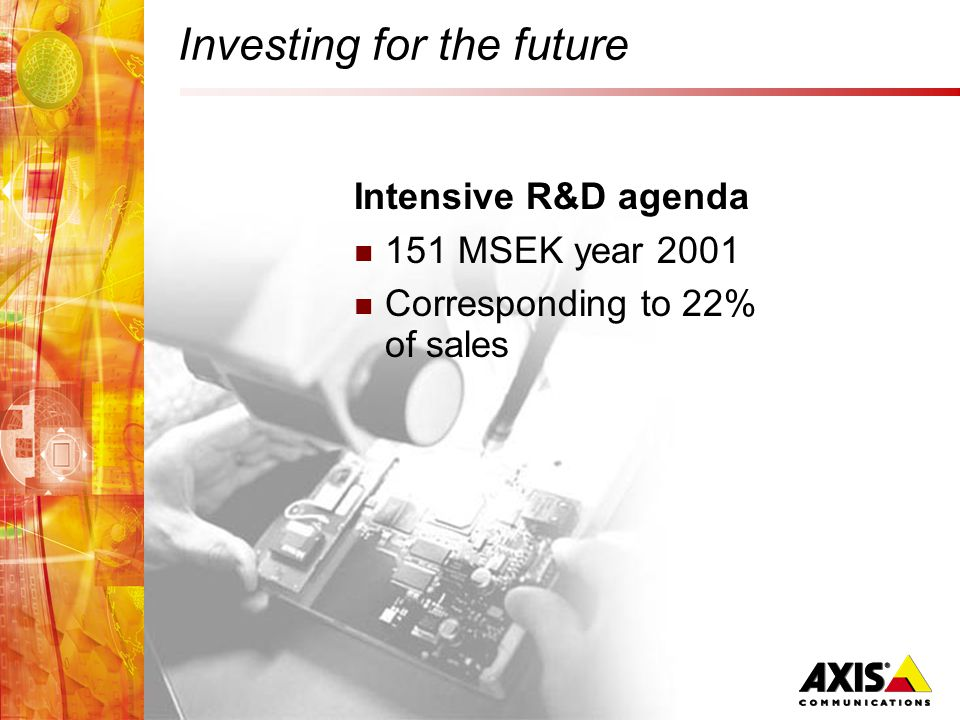 Investing for the future Intensive R&D agenda 151 MSEK year 2001 Corresponding to 22% of sales