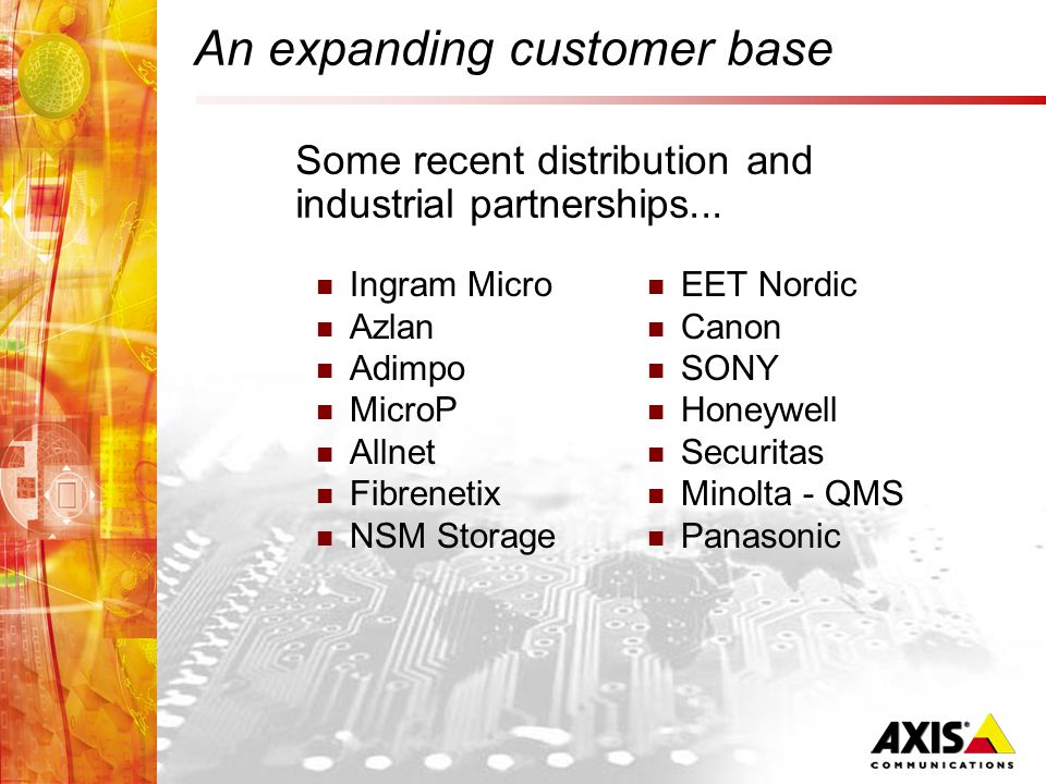 An expanding customer base Ingram Micro Azlan Adimpo MicroP Allnet Fibrenetix NSM Storage EET Nordic Canon SONY Honeywell Securitas Minolta - QMS Panasonic Some recent distribution and industrial partnerships...