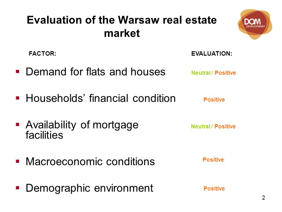 2 Evaluation of the Warsaw real estate market Neutral / Positive Positive Neutral / Positive Positive EVALUATION:FACTOR:  Demand for flats and houses  Households' financial condition  Availability of mortgage facilities  Macroeconomic conditions  Demographic environment