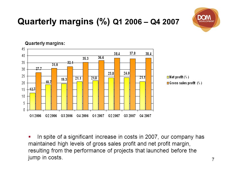 7 Quarterly margins (%) Q1 2006 – Q4 2007  In spite of a significant increase in costs in 2007, our company has maintained high levels of gross sales profit and net profit margin, resulting from the performance of projects that launched before the jump in costs.