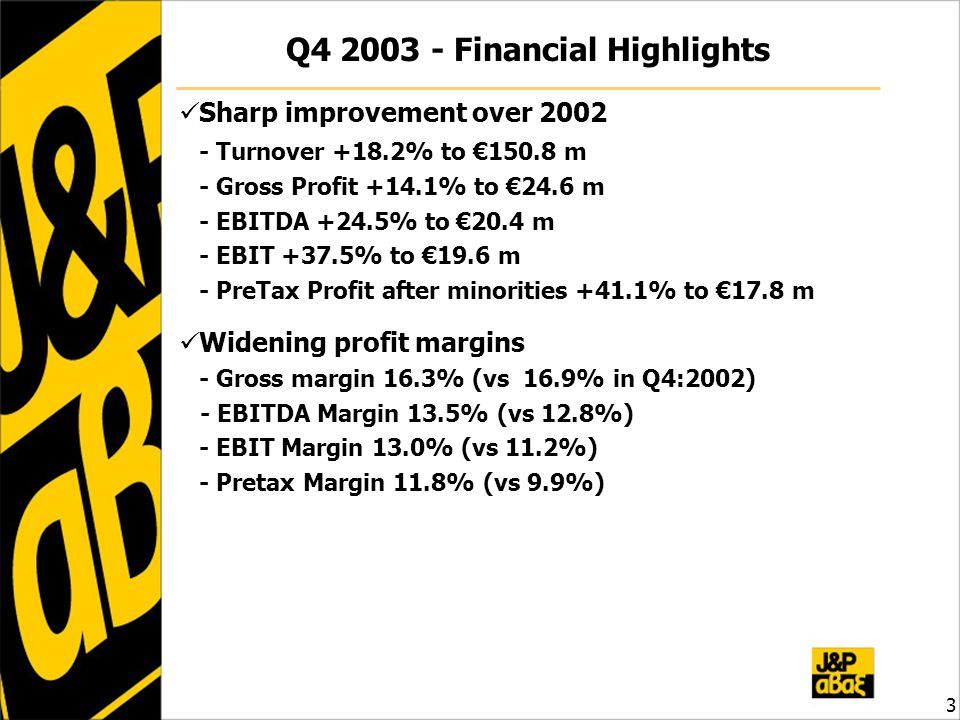 3 Q4 2003 - Financial Highlights Sharp improvement over 2002 - Turnover +18.2% to €150.8 m - Gross Profit +14.1% to €24.6 m - EBITDA +24.5% to €20.4 m - EBIT +37.5% to €19.6 m - PreTax Profit after minorities +41.1% to €17.8 m Widening profit margins - Gross margin 16.3% (vs 16.9% in Q4:2002) - EBITDA Margin 13.5% (vs 12.8%) - EBIT Margin 13.0% (vs 11.2%) - Pretax Margin 11.8% (vs 9.9%)