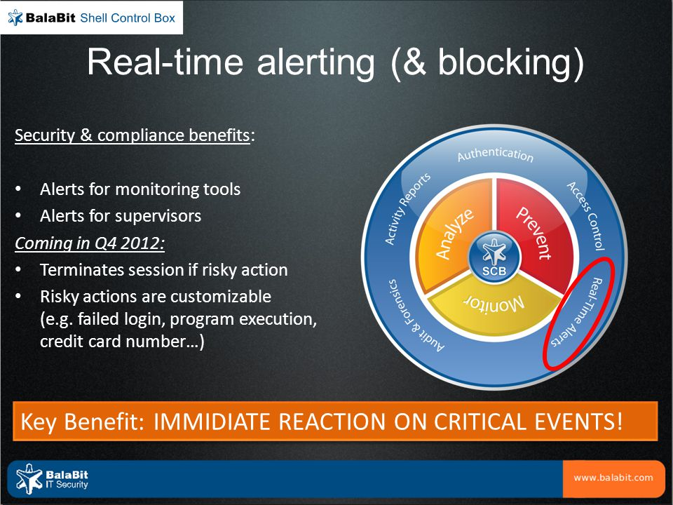 Real-time alerting (& blocking) Security & compliance benefits: Alerts for monitoring tools Alerts for supervisors Coming in Q4 2012: Terminates sessi
