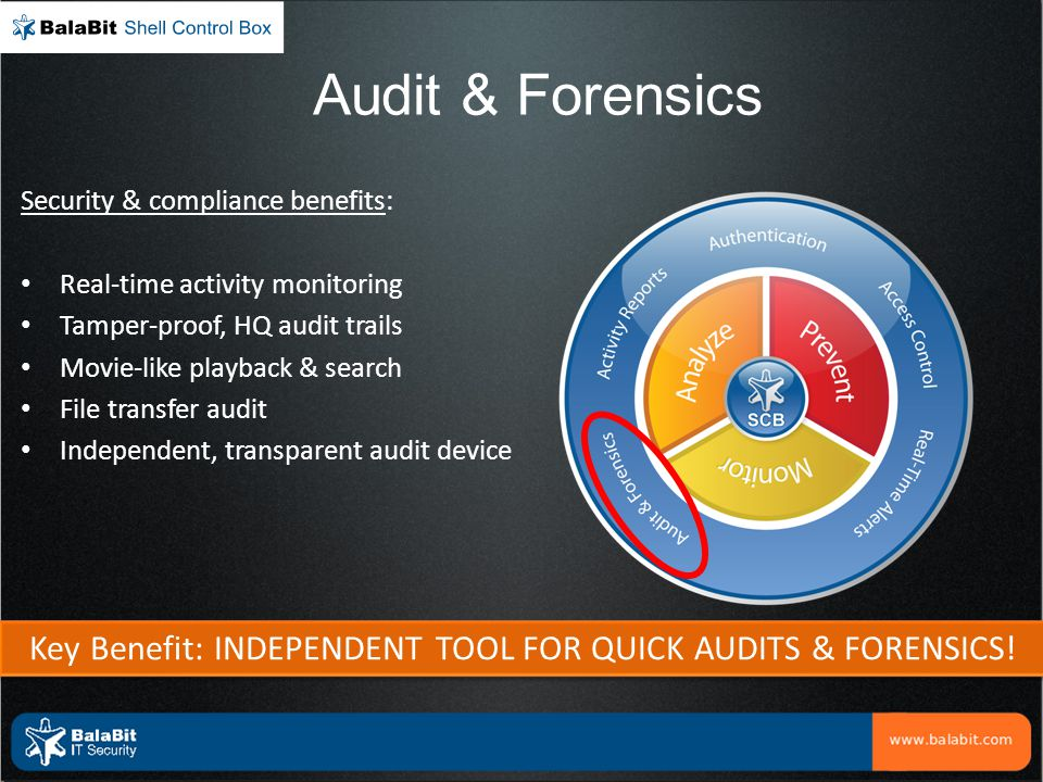 Audit & Forensics Security & compliance benefits: Real-time activity monitoring Tamper-proof, HQ audit trails Movie-like playback & search File transf