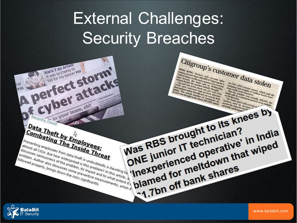 External Challenges: Compliance Pressure to Monitor Users SOX → COBIT DS5.5 Security monitoring DS9.2 Config.changes DS11.6 Securing Data PCI-DSS Chapter 7, 8 Implement Strong Access Control Chapter 10 Audit Access to Cardholder Data Chapter 12 Maintain sec.policy for personnel ISO27002 A.10.2 Third-party service mngmnt A.10.10 Monitoring user activities A.13.2 Mgmt of Security Incidents HIPAA, Basel II, GPG13… Similar requirements!