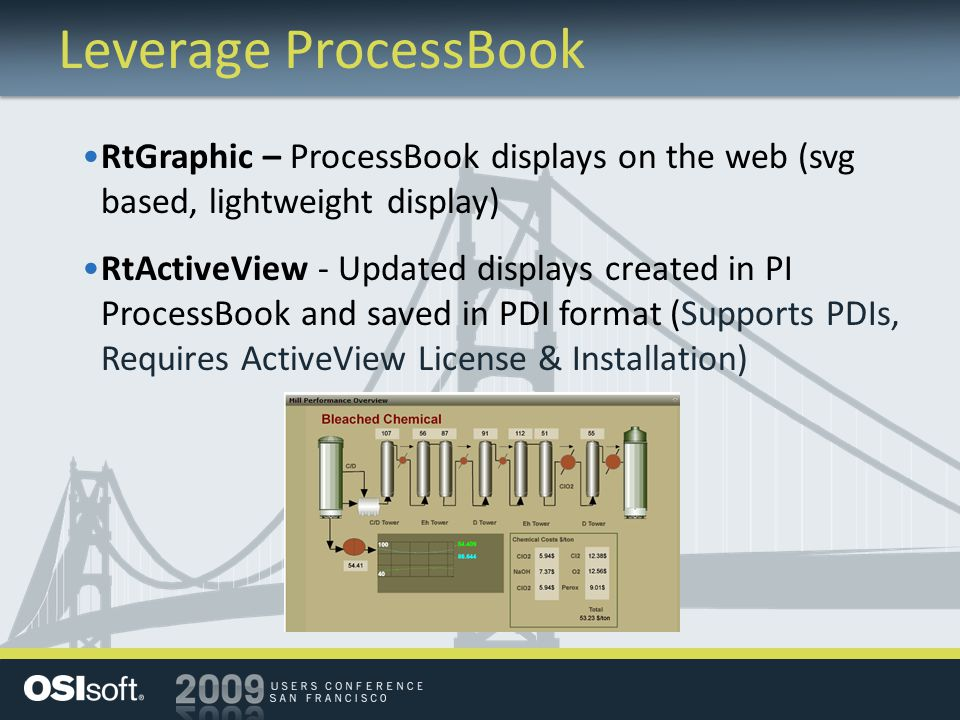 Leverage ProcessBook RtGraphic – ProcessBook displays on the web (svg based, lightweight display) RtActiveView - Updated displays created in PI ProcessBook and saved in PDI format (Supports PDIs, Requires ActiveView License & Installation)