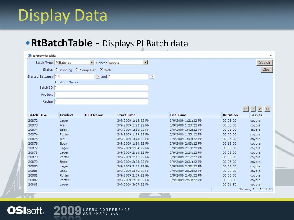 Display Data RtBatchTable - Displays PI Batch data