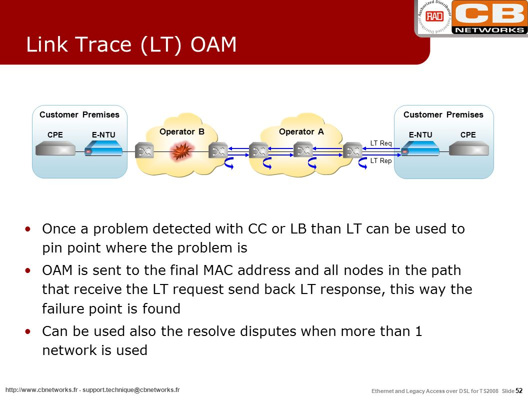 Ethernet and Legacy Access over DSL for TS2008 Slide 52 http://www.cbnetworks.fr - support.technique@cbnetworks.fr Link Trace (LT) OAM Once a problem detected with CC or LB than LT can be used to pin point where the problem is OAM is sent to the final MAC address and all nodes in the path that receive the LT request send back LT response, this way the failure point is found Can be used also the resolve disputes when more than 1 network is used Customer Premises E-NTUCPEE-NTUCPE Operator AOperator B LT Req LT Rep