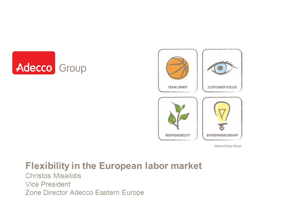 Slide 1 Flexibility in the European labor market Christos Misailidis Vice President Zone Director Adecco Eastern Europe