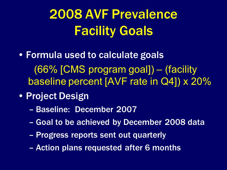 2008 AVF Prevalence Facility Goals Formula used to calculate goals (66% [CMS program goal]) – (facility baseline percent [AVF rate in Q4]) x 20% Project Design –Baseline: December 2007 –Goal to be achieved by December 2008 data –Progress reports sent out quarterly –Action plans requested after 6 months