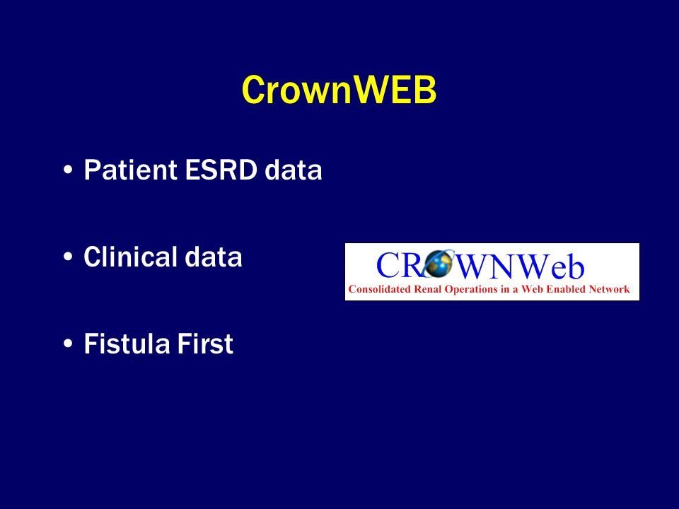 CrownWEB Patient ESRD data Clinical data Fistula First