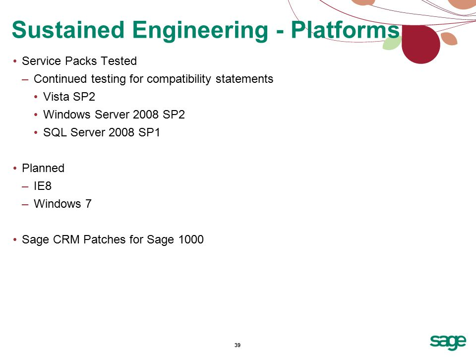 39 Service Packs Tested –Continued testing for compatibility statements Vista SP2 Windows Server 2008 SP2 SQL Server 2008 SP1 Planned –IE8 –Windows 7 Sage CRM Patches for Sage 1000 Sustained Engineering - Platforms