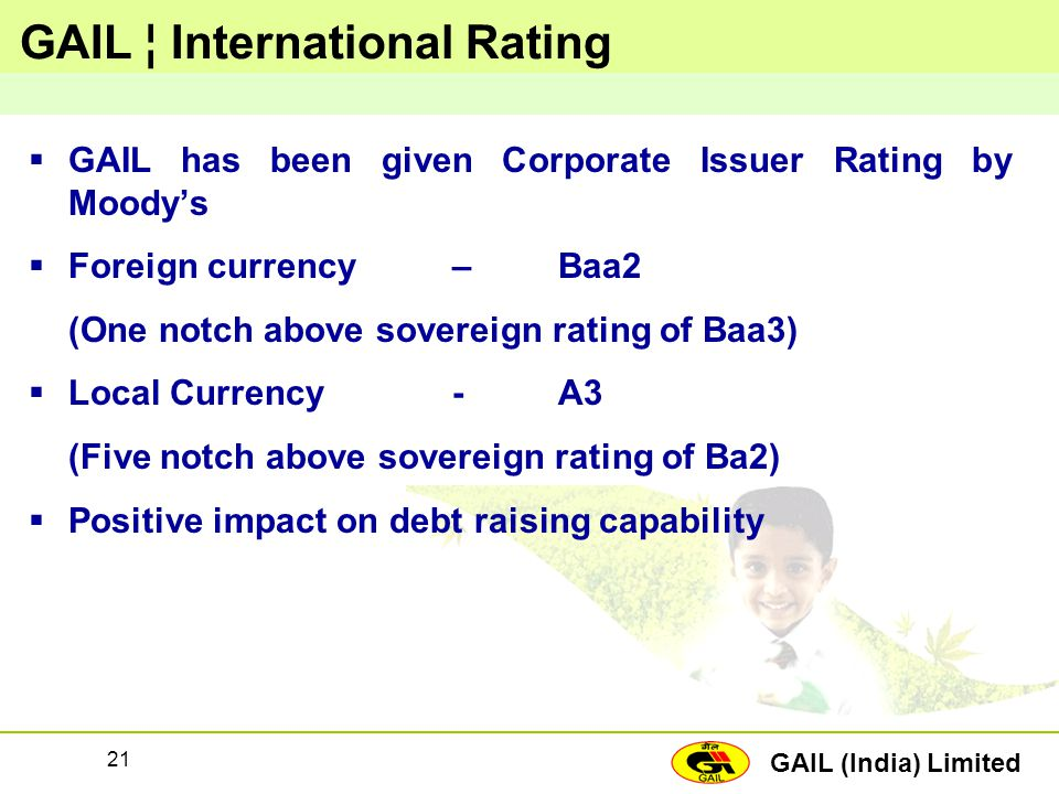 GAIL (India) Limited 21 GAIL ¦ International Rating  GAIL has been given Corporate Issuer Rating by Moody's  Foreign currency–Baa2 (One notch above