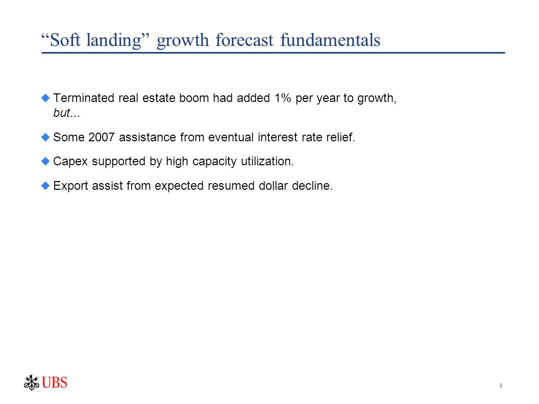 3 Soft landing growth forecast fundamentals  Terminated real estate boom had added 1% per year to growth, but...