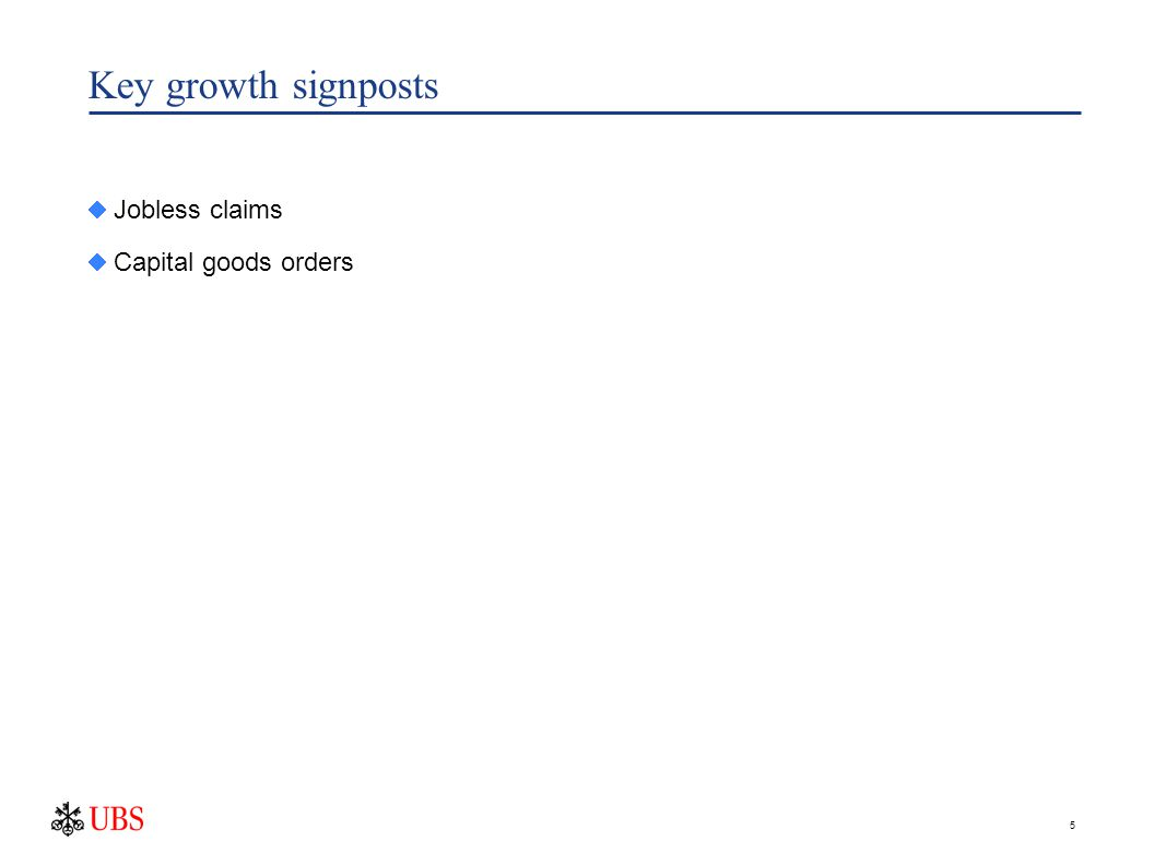 5 Key growth signposts  Jobless claims  Capital goods orders