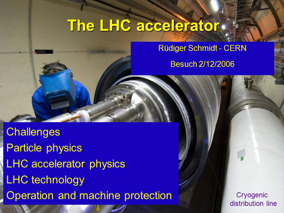 Rüdiger Schmidt - Dezember 20061 The LHC accelerator Rüdiger Schmidt - CERN Besuch 2/12/2006 Challenges Particle physics LHC accelerator physics LHC technology Operation and machine protection Cryogenic distribution line