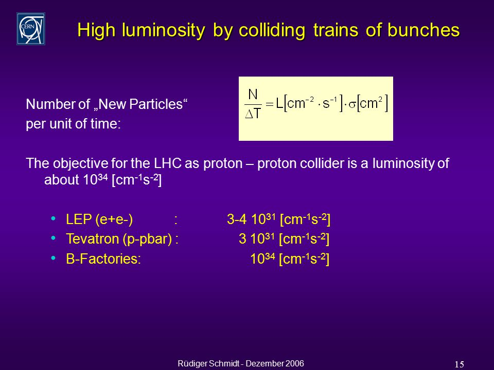 "Rüdiger Schmidt - Dezember 2006 15 High luminosity by colliding trains of bunches Number of ""New Particles per unit of time: The objective for the LHC as proton – proton collider is a luminosity of about 10 34 [cm -1 s -2 ] LEP (e+e-) : 3-4 10 31 [cm -1 s -2 ] Tevatron (p-pbar) : 3 10 31 [cm -1 s -2 ] B-Factories: 10 34 [cm -1 s -2 ]"