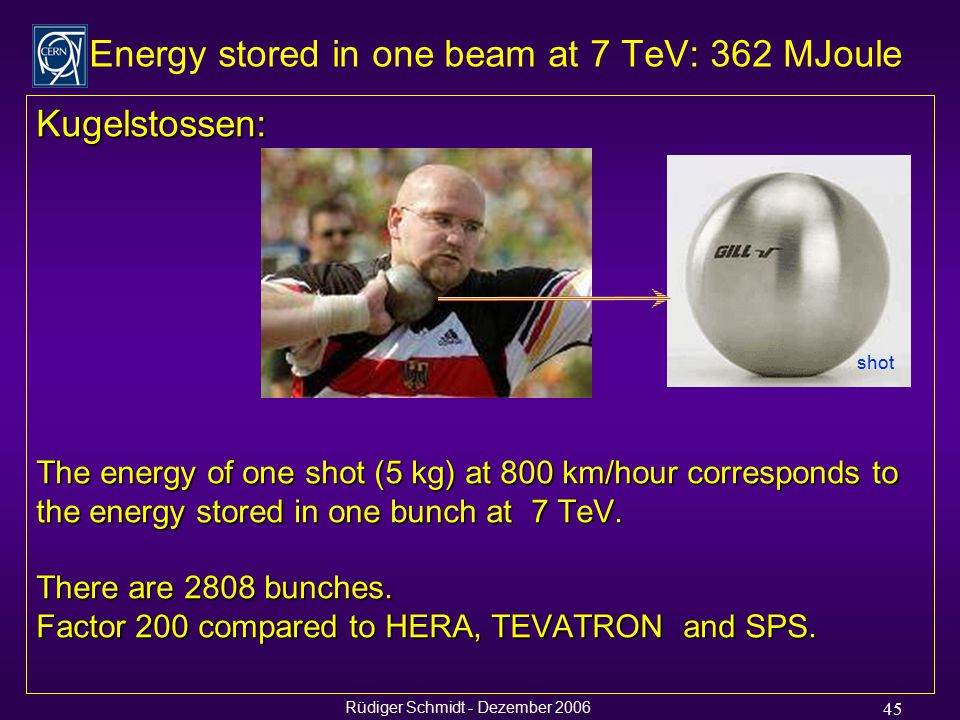 Rüdiger Schmidt - Dezember 2006 45 Kugelstossen: The energy of one shot (5 kg) at 800 km/hour corresponds to the energy stored in one bunch at 7 TeV.