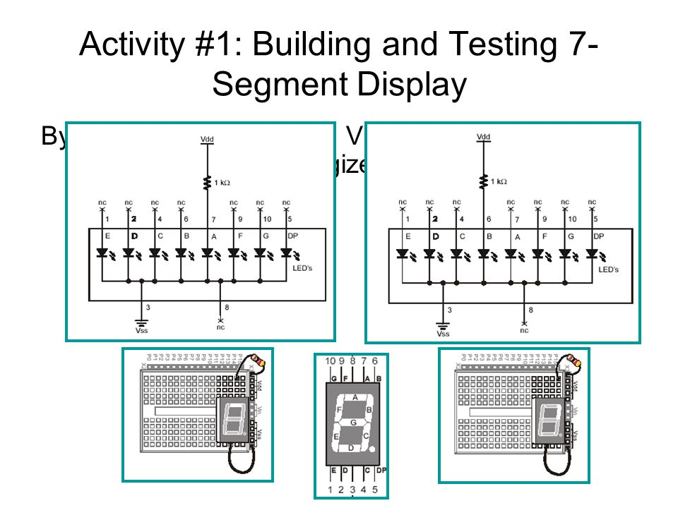 Activity #1: Building and Testing 7- Segment Display By supplying anodes with Vdd, individual segments can be energized.