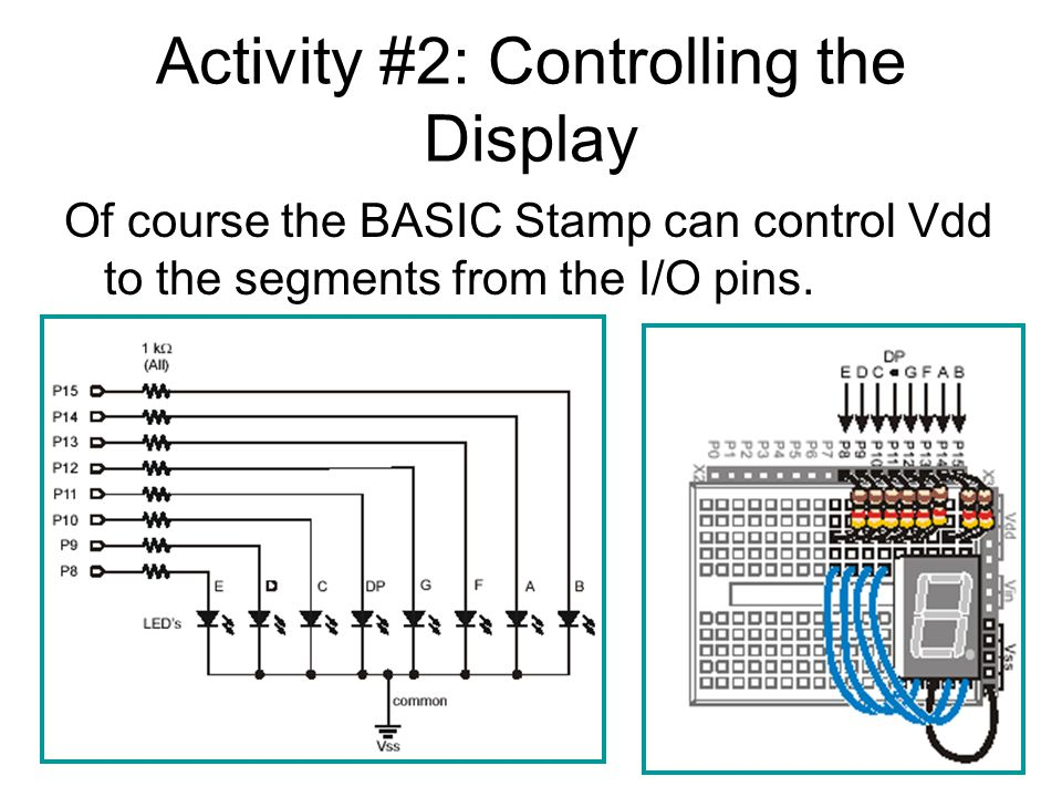 Activity #2: Controlling the Display Of course the BASIC Stamp can control Vdd to the segments from the I/O pins.