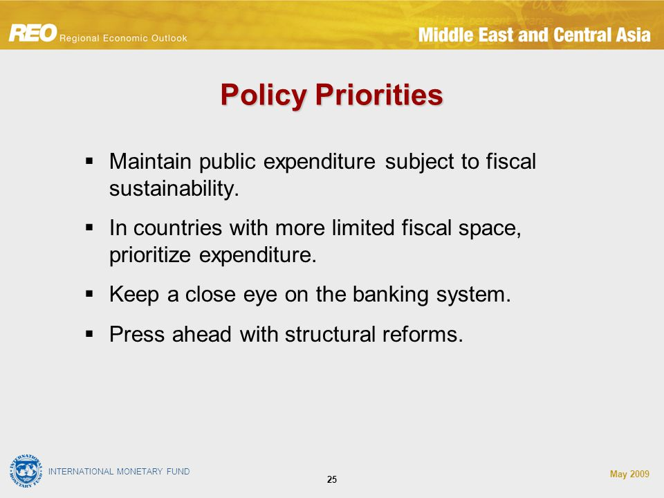 INTERNATIONAL MONETARY FUND May Policy Priorities  Maintain public expenditure subject to fiscal sustainability.