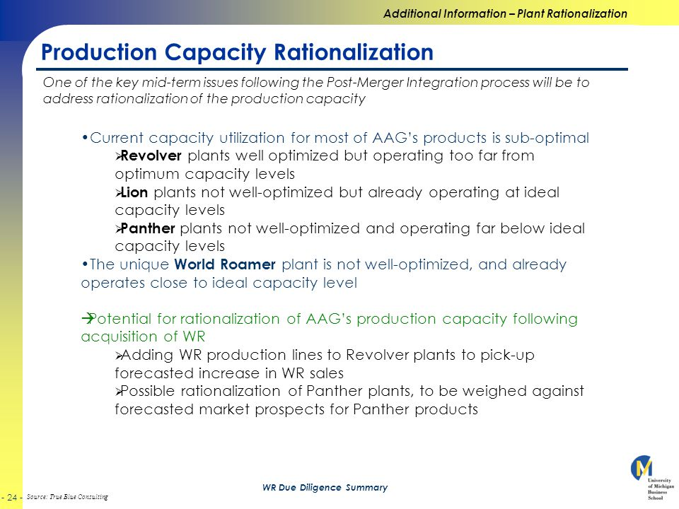 Source: True Blue Consulting WR Due Diligence Summary Production Capacity Rationalization Additional Information – Plant Rationalization One of the key mid-term issues following the Post-Merger Integration process will be to address rationalization of the production capacity Current capacity utilization for most of AAG's products is sub-optimal  Revolver plants well optimized but operating too far from optimum capacity levels  Lion plants not well-optimized but already operating at ideal capacity levels  Panther plants not well-optimized and operating far below ideal capacity levels The unique World Roamer plant is not well-optimized, and already operates close to ideal capacity level  Potential for rationalization of AAG's production capacity following acquisition of WR  Adding WR production lines to Revolver plants to pick-up forecasted increase in WR sales  Possible rationalization of Panther plants, to be weighed against forecasted market prospects for Panther products