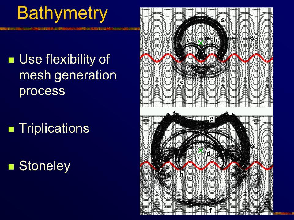 Bathymetry Use flexibility of mesh generation process Triplications Stoneley