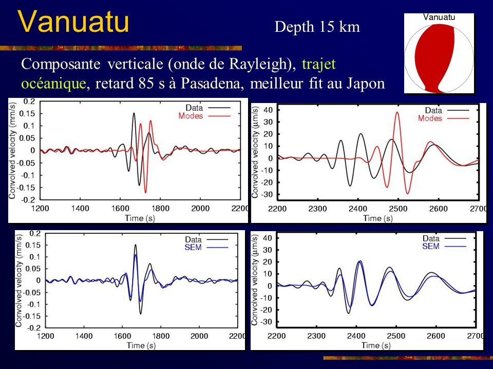 Vanuatu Depth 15 km Composante verticale (onde de Rayleigh), trajet océanique, retard 85 s à Pasadena, meilleur fit au Japon