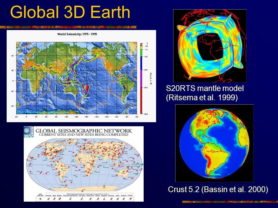 Global 3D Earth S20RTS mantle model (Ritsema et al. 1999) Crust 5.2 (Bassin et al. 2000)