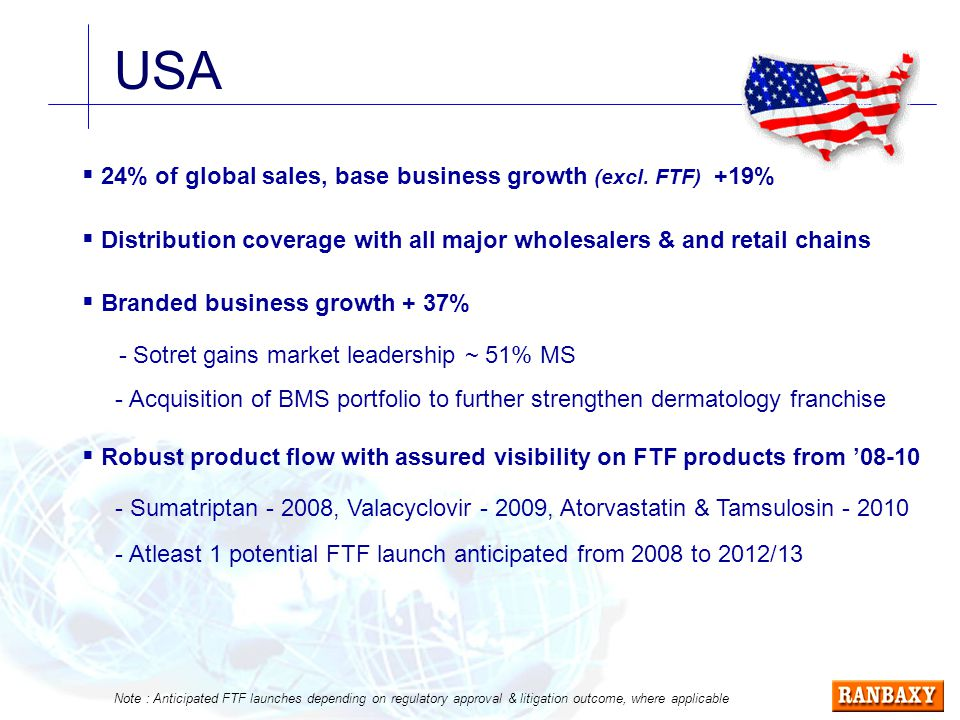 USA  24% of global sales, base business growth (excl.