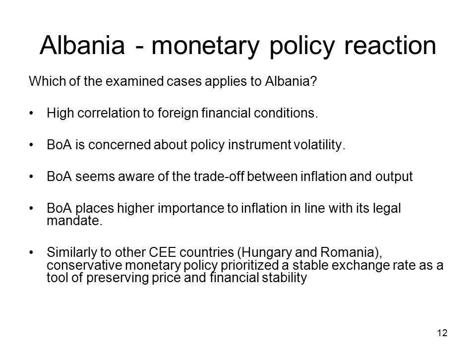 12 Albania - monetary policy reaction Which of the examined cases applies to Albania.
