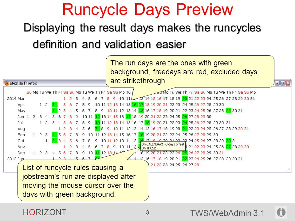HORIZONT 3 TWS/WebAdmin 3.1 Runcycle Days Preview List of runcycle rules causing a jobstream's run are displayed after moving the mouse cursor over the days with green background.