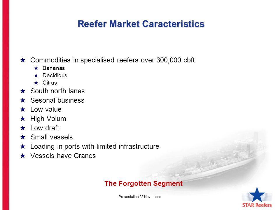 Presentation 23 November Reefer Market Caracteristics Reefer Market Caracteristics Commodities in specialised reefers over 300,000 cbft Bananas Decidi
