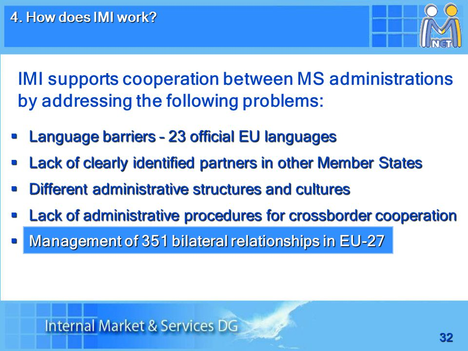 32  Language barriers – 23 official EU languages  Lack of clearly identified partners in other Member States  Different administrative structures and cultures  Lack of administrative procedures for crossborder cooperation  Management of 351 bilateral relationships in EU-27 4.