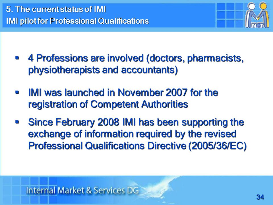 34 5. The current status of IMI IMI pilot for Professional Qualifications  4 Professions are involved (doctors, pharmacists, physiotherapists and acc