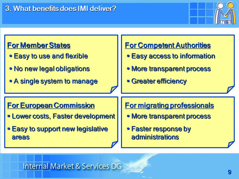 9 3. What benefits does IMI deliver.