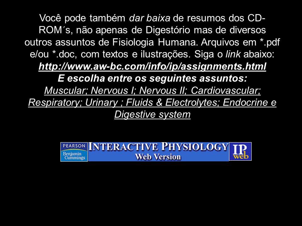 Você pode também dar baixa de resumos dos CD- ROM´s, não apenas de Digestório mas de diversos outros assuntos de Fisiologia Humana. Arquivos em *.pdf