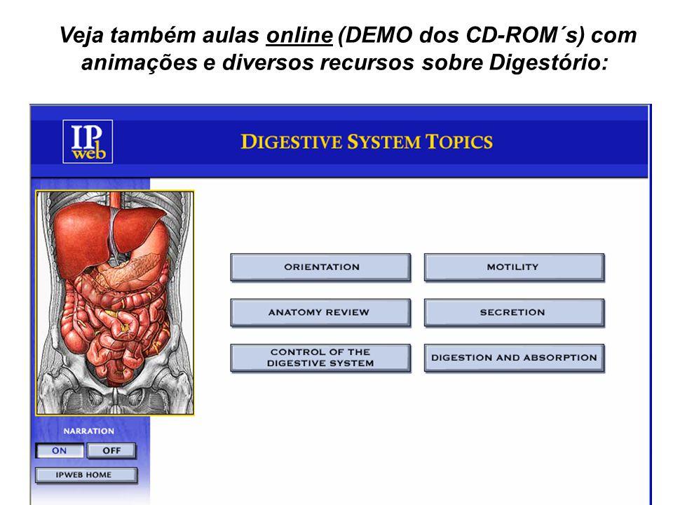 Veja também aulas online (DEMO dos CD-ROM´s) com animações e diversos recursos sobre Digestório: