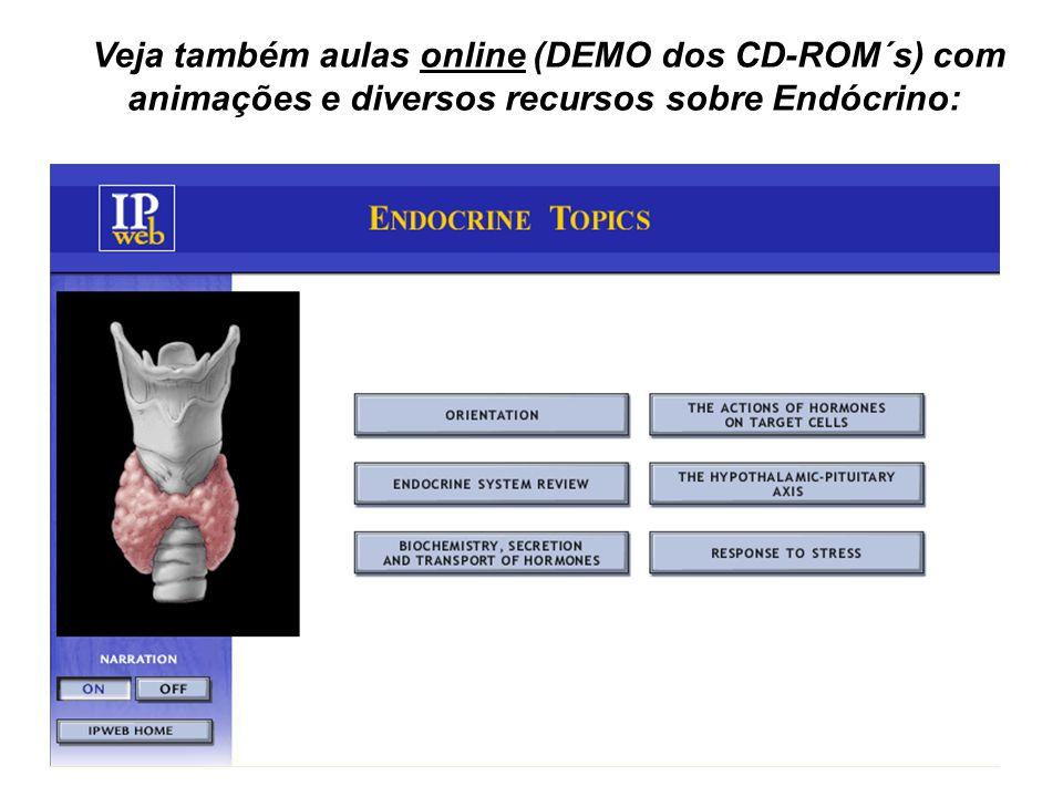 Veja também aulas online (DEMO dos CD-ROM´s) com animações e diversos recursos sobre Endócrino: