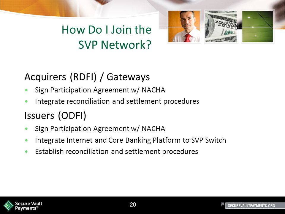 20 How Do I Join the SVP Network.