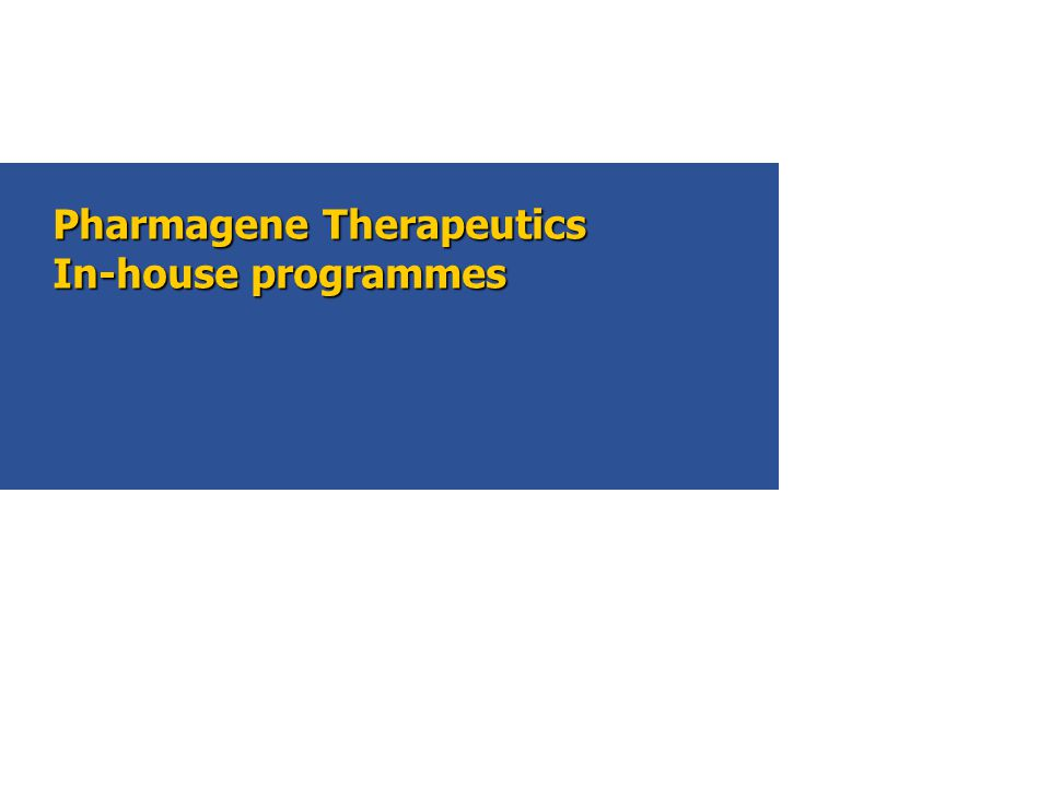 Pharmagene Therapeutics In-house programmes