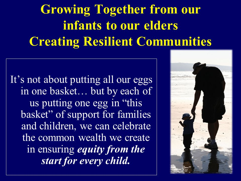 Growing Together from our infants to our elders Creating Resilient Communities It's not about putting all our eggs in one basket… but by each of us putting one egg in this basket of support for families and children, we can celebrate the common wealth we create in ensuring equity from the start for every child.