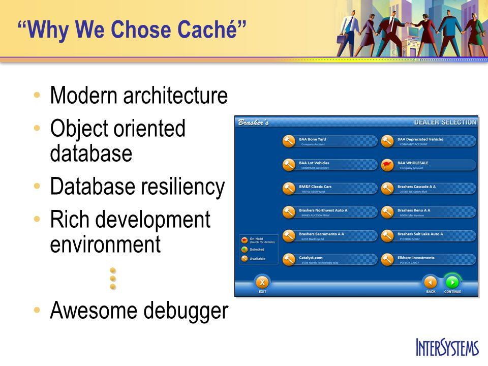 Why We Chose Caché Modern architecture Object oriented database Database resiliency Rich development environment Awesome debugger