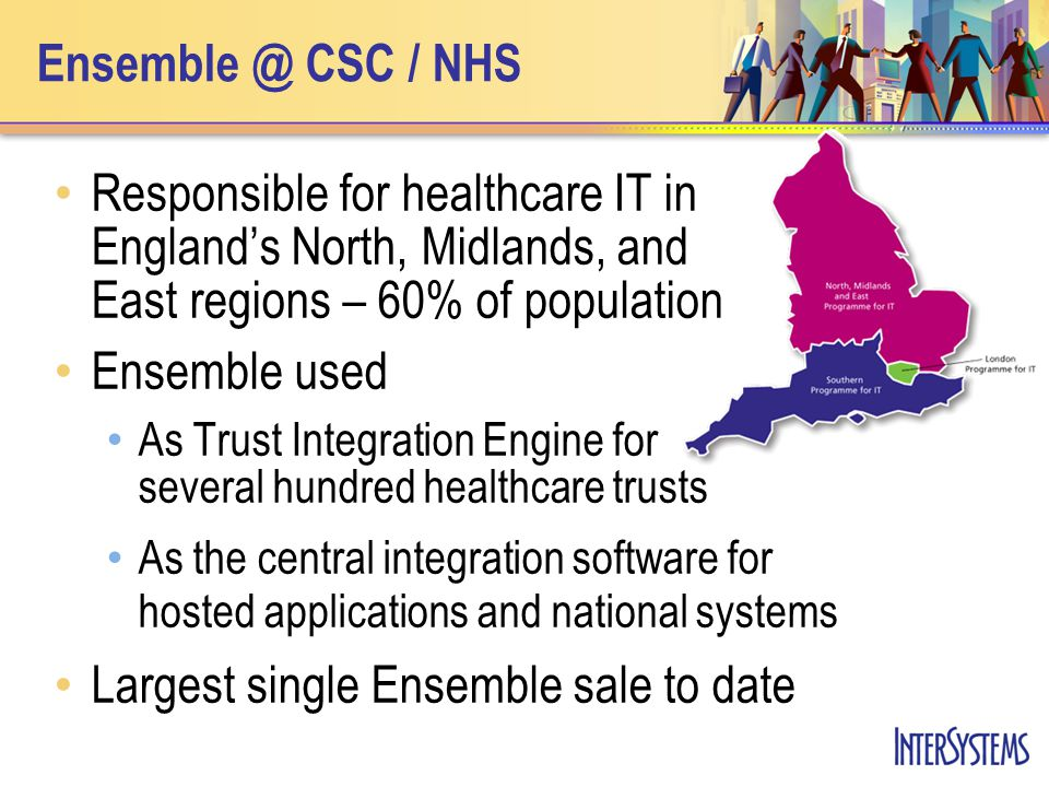 Ensemble @ CSC / NHS Responsible for healthcare IT in England's North, Midlands, and East regions – 60% of population Ensemble used As Trust Integration Engine for several hundred healthcare trusts As the central integration software for hosted applications and national systems Largest single Ensemble sale to date