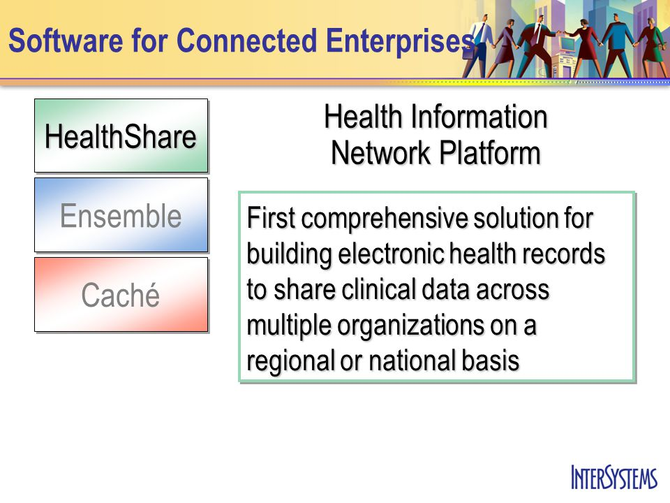 Ensemble HealthShareCaché Software for Connected Enterprises Health Information Network Platform First comprehensive solution for building electronic health records to share clinical data across multiple organizations on a regional or national basis