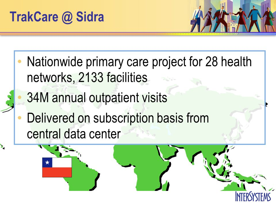 TrakCare @ Sidra Nationwide primary care project for 28 health networks, 2133 facilities 34M annual outpatient visits Delivered on subscription basis from central data center