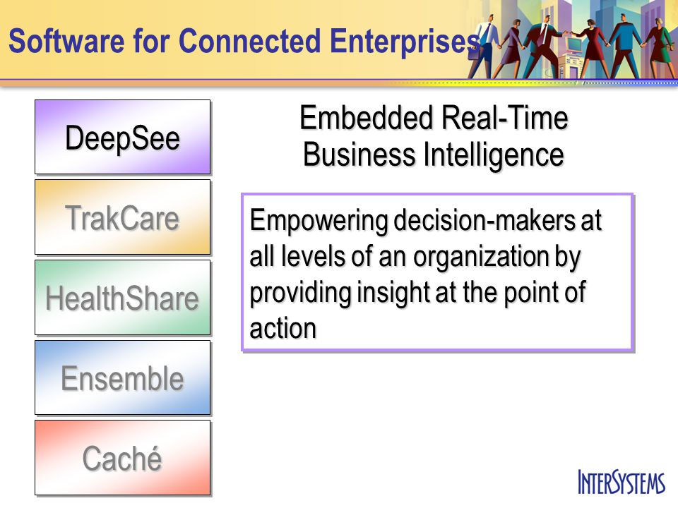 DeepSee TrakCare Software for Connected EnterprisesEnsemble HealthShare Caché Embedded Real-Time Business Intelligence Empowering decision-makers at all levels of an organization by providing insight at the point of action