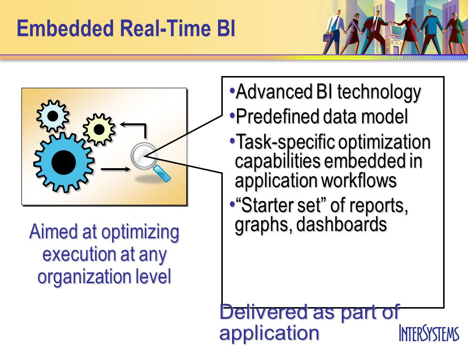 Embedded Real-Time BI Advanced BI technology Advanced BI technology Predefined data model Predefined data model Task-specific optimization capabilities embedded in application workflows Task-specific optimization capabilities embedded in application workflows Starter set of reports, graphs, dashboards Starter set of reports, graphs, dashboards Delivered as part of application Aimed at optimizing execution at any organization level